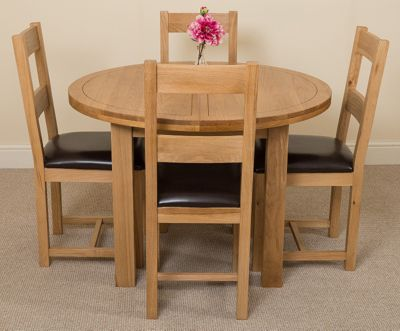 Edmonton Solid Oak Oval Extending 110 - 140 cm Dining Table with 4 Lincoln Dining Chairs