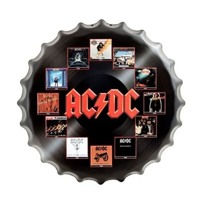 ACDC LP Vinyl Record Style Metal Bottle Cap Wall Art - Black