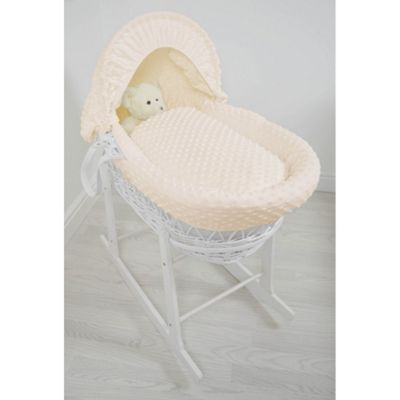 Cuddles Collection White Wicker Moses Basket (Dimple Cream)