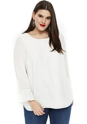 Evans Faux Pearl Bell Sleeve Plus Size Top White 22