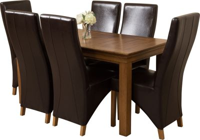 French Chateau Rustic Solid Oak 150 cm Dining Table with 6 Brown Lola Leather Chairs
