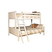 Comfy Living 3ft Single & 4ft Small Double Children's Premium Triple Bunk Bed in White with Sprung Mattress