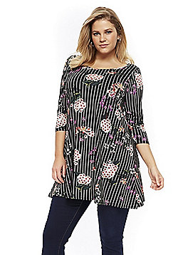 Evans Striped and Floral Print Plus Size Tunic - Black