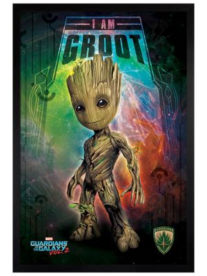 Guardians Of The Galaxy Vol. 2 Black Wooden Framed I Am Groot Space Poster