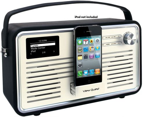 Viewquest Retro Wifi Internet/Dab+/Fm Radio With Ipod Dock (Black And Cream)