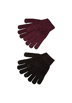 F&F 2 Pack of Diamanté Star and Sparkle Touch Screen Gloves - Burgundy & Black