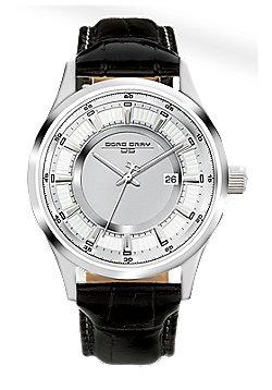 Men's Watch JG6800-11 - Black Leather Strap - Silver Dial - Jorg Gray