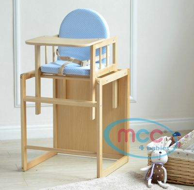 Baby Wooden High Chair With Play Table Cushion & Harness (Blue Det)