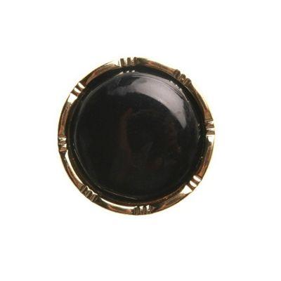 Hemline Black with Decorative Gold Rim Buttons 15mm 4pk