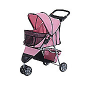 PawHut Pet Travel Stroller Cat Dog Pushchair Trolley Puppy Jogger Carrier Three Wheels (Pink)