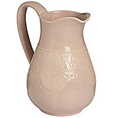Ceramic Lace Detail Traditional Jug In Peach
