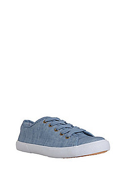 F&F Lace-Up Canvas Trainers - Blue