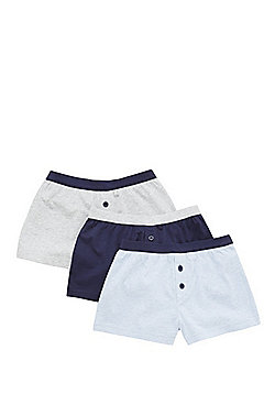 F&F 3 Pack of Marl Boxer Shorts with As New Technology - Blue & Grey
