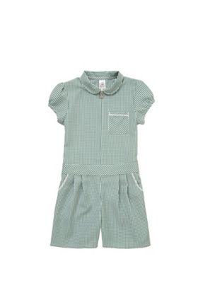 F&F School Easy Iron Gingham Playsuit Green/White 3-4 years