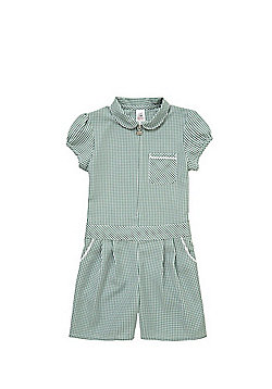 F&F School Easy Iron Gingham Playsuit - Green & White