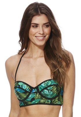 South Beach Palm Print Balcony Bikini Top Green/Black 14
