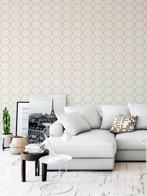 Casca Geometric Wallpaper Gold Muriva 147502