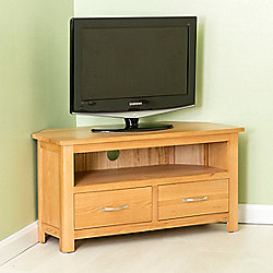 Carne Oak Corner Tv Stand Light Oak