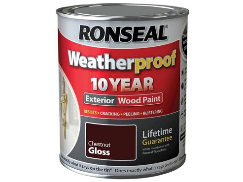 Ronseal RSLWPCNG750 750 ml Exterior Wood Paint - Chestnut Gloss