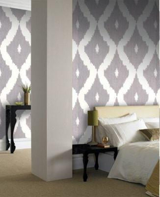 Graham & Brown Ikat Wallpaper - Soft Grey