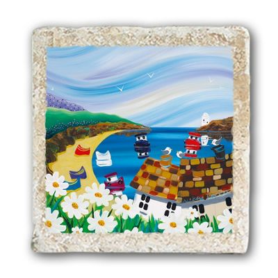 Original Metal Sign Co Marble Coaster, Beach Scene