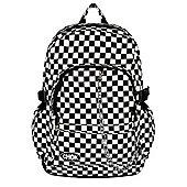 Chok Black & White Checker Canvas Backpack 29x42x13cm