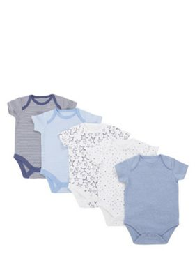 F&F 5 Pack of Simple Short Sleeve Bodysuits Blue/Multi Newborn