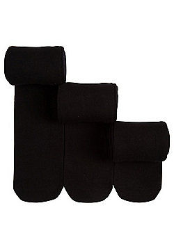 F&F 3 Pack of Super Soft Opaque Tights - Black