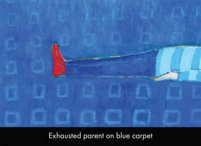 Holy Mackerel Exhausted Parent On Blue Carpet Greetings Card