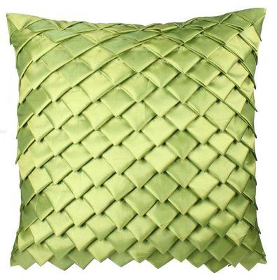 Pistachio Satin Folds Cushion Striking Design Home Decor