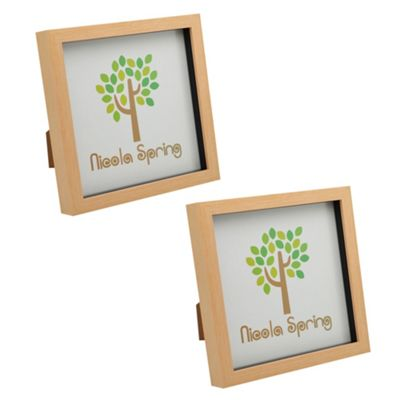 Light Wood Effect 8x8 Box Photo Frame - Standing & Hanging - Pack of 2