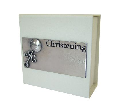 Christening Pewter Plate Gift Box