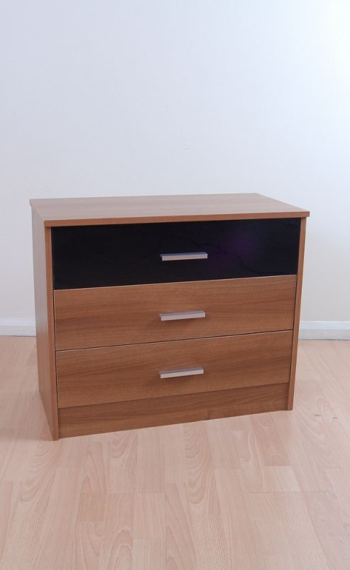 Kit Form Kit-form 3 Drawer Chest - Alto Walnut and Black Gloss