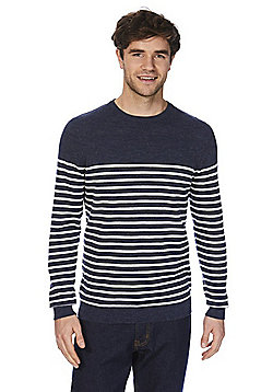 F&F Striped Crew Neck Jumper - Navy