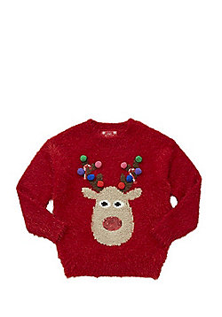 F&F Reindeer Eyelash Knit Christmas Jumper - Red