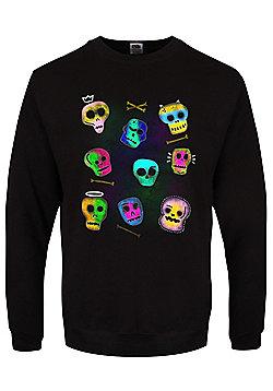 Spooky Skulls Men's Black Halloween Sweater - Black