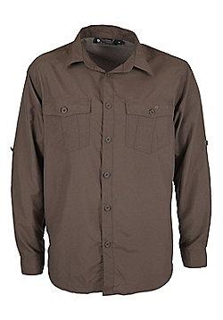 Travel Convertible Men's Shirt - Brown