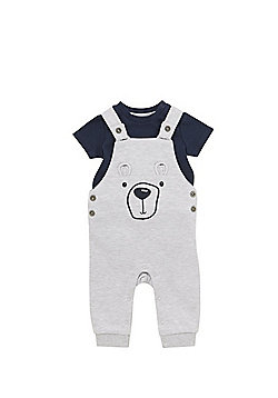 F&F Short Sleeve Bodysuit and Bear Face Jersey Dungaree Set - Grey & Navy