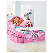 Paw Patrol Skye Toddler Bed With Storage Plus Fully Sprung Mattress