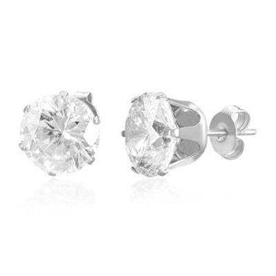 Urban Male Stainless Steel Round CZ Stud Earrings For Men 10mm