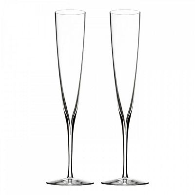 Waterford Elegance Wine Story Champagne Trumpet Flute Pair