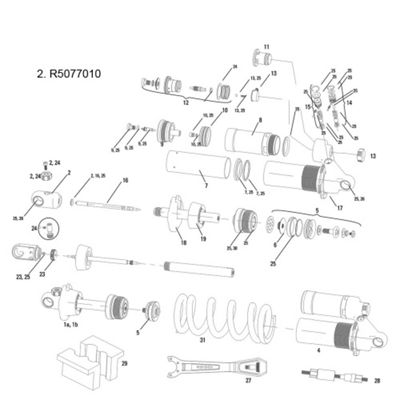 RockShox Shaft Eyelet/Rebound Adjuster Knob Assy (Standard) Vivid R2C 2011