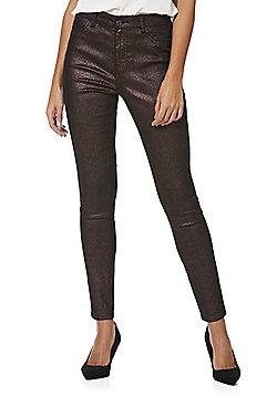 F&F Glitter Mid Rise Skinny Jeans - Pink