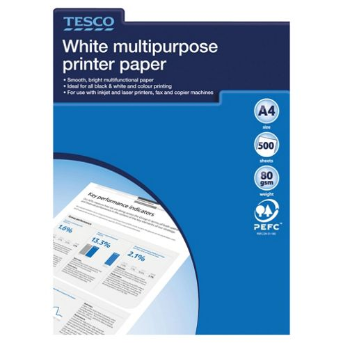 Tesco A4 White Multipurpose 80Gsm Paper, 500 Sheets