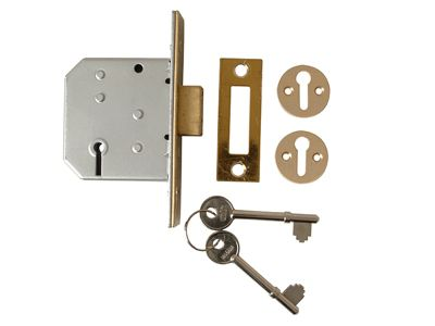 Union 2177 3 Lever Mortice Deadlock Polished Brass 65mm 2.5in Visi