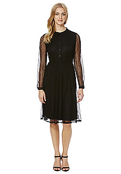 Yumi Lace Shirt Dress - Black