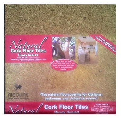 9 x Nicoline Cork Floor Tiles Ready Sealed Self-adhesive 300mm x 300mm 3mm