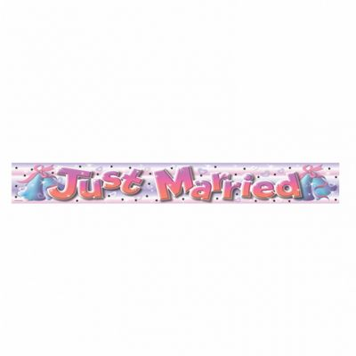 Foil Banner - Just Married - 11.5cm x 365cm - Amscan