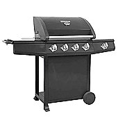 Black Gourmet 600 Deluxe 4 Burner BBQ with Black Powder Coated Hood and Side Burner