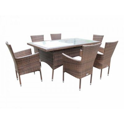 Cambridge 6 Non-Reclining Chairs And Large Rectangular Table Set in Chocolate Mix and Coffee Cream
